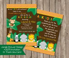 Jungle Safari Baby Shower Invitation OR Thank by PeriwinklePapery