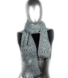 Buy Butterfly Pattern Crochet Stole | Dark Grey scarf online
