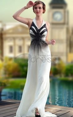 Party Dresses For Girls-Halter Black White Chiffon Party Dresses For Girls