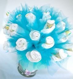 baby shower centerpiece. Diapers and tulle
