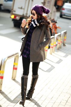 Japanese Street  Fashion- I would pair the outfit with a leather jacket instead of the one she is wearing.
