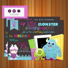Monster Inc Invitation, Monster Inc Inspired Kids Birthday Party Digtial PRINTABLE Party Invitation on Etsy, $12.00
