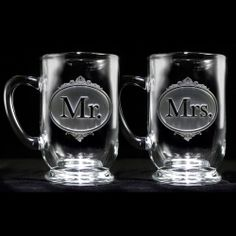 Engraved Mr. and Mrs. Coffee Mugs at Crystal Imagery.