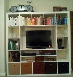 Expedit TV Storage Unit and 5 Lekman Boxes