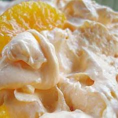 Photo: DREAMSICLE SALAD (SUGAR FREE)  A everyday go to dessert with NO guilt! Try strawberry jello with strawberries and other favors with seasonal fruit.  Ingredients 1 - 3 ozs pkg. sugar free orange jello 1 - 3 ozs. pkg. sugar free instant vanilla pudding 1 - 10 ozs. can mandarin oranges, drained 1 - 8 ozs. tub fat free frozen whipped topping, tha!