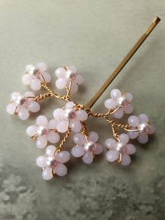 Pink bridal Cherry blossom crystal pearl Spring wedding bridal spray hair grip bobby pin bridesmaid headdress accessory with Swarovski pearls. Inspired by Spring cherry blossom this handmade hair grip/bobby pin is made with the palest pink opal crystals and Swarovski pearls in