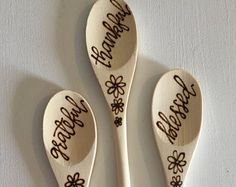 Set of 3 Woodburned Kitchen Mixing Spoons with Kitchen Quotes, Calligraphy, Cooking Utensils, Kitchen and Dining, Housewarming Gift