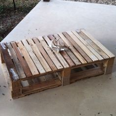 Wood pallet: unstained coffee table.
