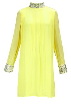 Yellow embroidered pleated dress BY CHERIE D. Shop now at www.perniaspopups... #designer #amazing #sttunning #designerclothes #love #perniaspopupshop #happyshopping