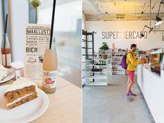 Vers eten in een rauwe/industriële ruimte.