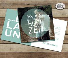 """Einladungskarte+""""Blue+Dot""""+von+KunstStück+auf+DaWanda.com"""