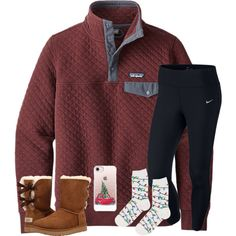 Day 5 : crazy socks by hannahmae24 on Polyvore featuring polyvore, fashion, style, Patagonia, NIKE, Topshop, UGG, Casetify, clothing and gabschristmascontest17