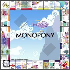 Monopony -  A PRINTABLE My Little Pony Themed Monopoly Board and cards by sup3rgh0st.deviantart.com on @deviantART