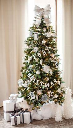 Glittered Wood Letter Garland Christmas Tree