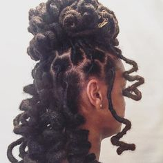 We created curls for her big day! Make sure you congratulate (soon-to-be) Mrs. Dreadlock Styles, Dreads Styles, Curly Hair Styles, Natural Hair Styles, Black Girls Hairstyles, Cool Hairstyles, Beautiful Dreadlocks, Dreadlock Hairstyles, Hairdos