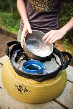 Bring your kitchen to your campground. Easy way to wash your camp dishes!