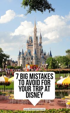 disney travel tip 7 Big Mistakes To Avoid For Your Trip At Disney. Learn how to plan a trip to Disney Disney World Food, Walt Disney World Vacations, Disney Land, Disney Travel, Disney Disney, Travel Usa, Travel Tips, Family Vacations, Birthday At Disney World