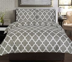 A printed gray duvet cover set that'll make your room feel more polished and adult-y.