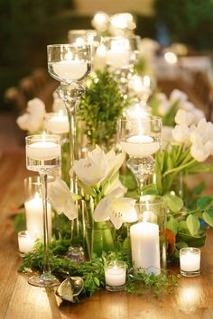 Elegant wedding ideas to wow your guests---classy dinner reception with floating candles, greenery and white blooms on the raw wooden table, country wedding decorations. elegant wedding 13 Ways to Hold Elegant Weddings Romantic Wedding Centerpieces, Country Wedding Decorations, Floral Centerpieces, Flower Decorations, Flower Arrangements, Floating Candles Wedding, Inexpensive Centerpieces, Candle Decorations, Floating Candle Centerpieces