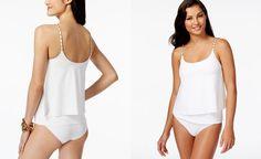 MICHAEL Michael Kors Layered Chain-Trim Tankini Top - Swimwear - Women - Macy's