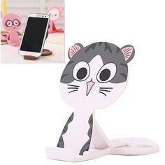 Fit gray lovely cat shape folding design ABS Phone holder http://earrings.asumall.com/