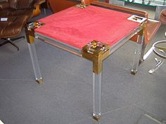 amazing lucite and brass regency table $4500