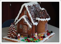 Gingerbread house with lollipop's windows