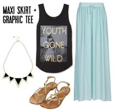 (Maxi Skirts + Graphic Tees)