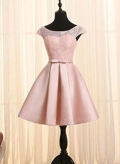 Pink Homecoming Dresses, Satin and Lace Lovely Dress with Belt, Cute P – BeMyBridesmaid