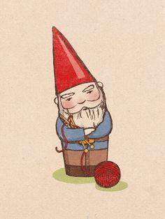 """Yarn It All"" Fun Art: Knitting Gnome by Sara Harvey"