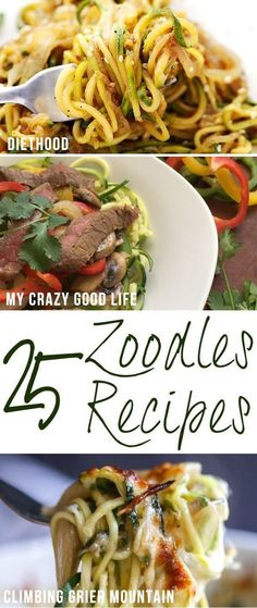 We LOVE zoodles! Zucchini noodles are such an easy way to add some veggies to yo… We LOVE zoodles! Zucchini noodles are such an easy way to add some veggies to your diet! Here are more than 25 of my very favorite zoodles recipes! Zoodle Recipes, Spiralizer Recipes, Veggie Recipes, Low Carb Recipes, Vegetarian Recipes, Cooking Recipes, Healthy Recipes, Atkins Recipes, Diabetic Recipes