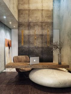 Office with a wooden desk over a huge white stone. Stone Age interior. Masculine.