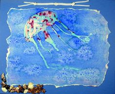 3rd graders created jellyfish using glue and added small touches of color while glue was still wet. After glue dried, areas of the jellyfish were filled in with oil pastel to resist the blue paint. Paint the water blue & sprinkle salt. To finish the picture the salt was brushed away and a wet cotton swab was used to remove some of the paint from the glued areas. The edges were torn to give the picture a ragged white edge then glued to a larger piece of blue paper.