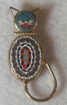 Vintage Unique Micro Mosaic Italy Cat Brooch