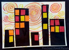 Superhero Cityscape Art Project inspired by Vincent Van Gogh!  Great for preschool and older kids too!