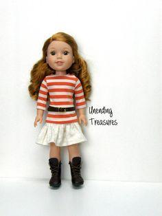 14 inch doll clothes AG doll clothes pumpkin/cream striped top