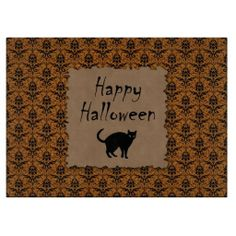 Happy #Halloween Damask With Black Cat