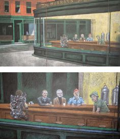 funnyordie:  How Do You Improve A Classic Painting? By Adding Bill Murray, Of Course. We never realized Edward Hopper's Nighthawks needed to be fixed until seeing it populated by Bill Murray's characters.