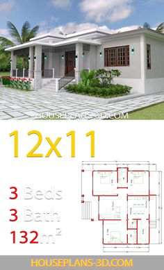 Home design with 3 Bedrooms Terrace roof - House Plans Beach House Plans, Family House Plans, Dream House Plans, Modern House Plans, Small House Plans, Modern Bungalow House, Bungalow House Plans, Cottage House Plans, Simple House Design