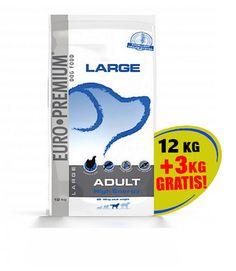 Actie!!   Euro-Premium Large Adult High Energy 12 kg met Tijdelijk+3 kg Gratis voor € 42,95