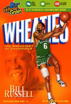 It's the breakfast of champions, or the champion of breakfasts: Ever since we can remember, Wheaties cereal boxes have been synonymous with celebrity ath. Mba Basketball, Celtics Basketball, Basketball Quotes, Basketball Legends, Basketball Players, Basketball Stuff, Celtic Pride, Bill Russell, Cereal Boxes