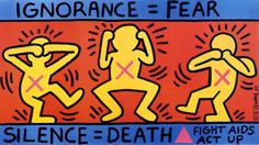 Keith Haring was the leading figure of a gay-liberal movement. Keith Haring was one of street art's first innovators. Keith Haring personified the commercial success of urban art. Keith Haring IS Widewalls' Artists of the Week. Keith Haring Kids, Keith Haring Poster, Protest Kunst, Protest Art, Protest Posters, Education Posters, Protest Signs, Bad Painting, Hiv Aids