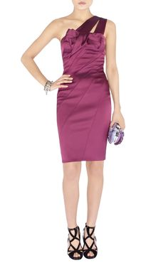 Cheap One Shoulder Purple Silk Dress-Karen Millen Dl145 Purple Signature Stretch Satin Dress :