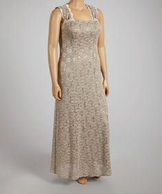 704821d3be5 Love this R M Richards Mocha Lace Cutout-Back Gown - Women by R M Richards  on