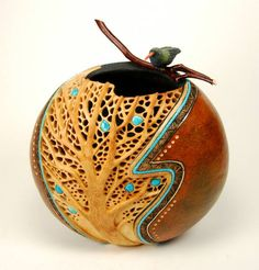 """Filligree Tree"" gourd with inlaid turquoise teardrop leaves by Bonnie Gibson"