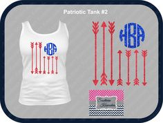 Show your patriotic pride with one of these  Patriotic Monogram tees or tanks!  YOU MUST CONTACT US WITH YOUR MONOGRAM BEFORE WE CAN MAKE YOUR ITEM  Design size varies according to shirt size and exact fabric placement may vary slightly from the picture.  Shirt brands and/or style may differ slightly from this picture.  This listing is for the colors shown in the pictures.  We can do a custom orde