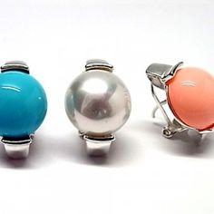 Pendientes de plata de primera ley con perla pasada mabe de 1,4 cm de diametro de color a elegir blanco, rosa o azul y con cierre omega