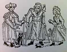 Three Witches with cat, mouse,owl and dog  Woodblock print  17th Century