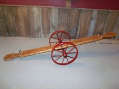 Wood Teeter Totter See Saw with vintage Metal/Steel Wagon Wheels