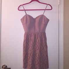 Anerican Eagle Outfitters Dusty Rose Dress  Ornate stitching on front and back of breast area, zipper detail in back, full lace skirt all around. American Eagle Outfitters Dresses Mini